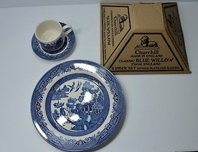 Churchill Blue Willow 3 Pc.Set-Dinner Plate,Cup,Saucer - NIB -Made in England