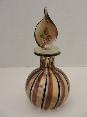 Venetian Glass Murano  brown  black and clear glass perfume bottle