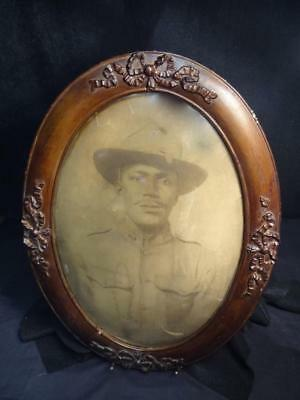 Portrait of WWI African American Soldier in Period Frame w/Convex Bubble Glass
