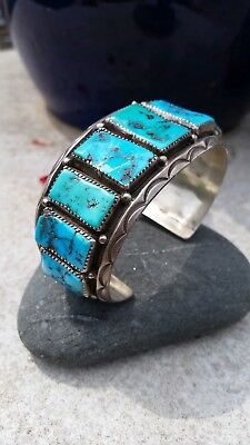 Native American Sterling Silver & Turquoise Traditional Bracelett
