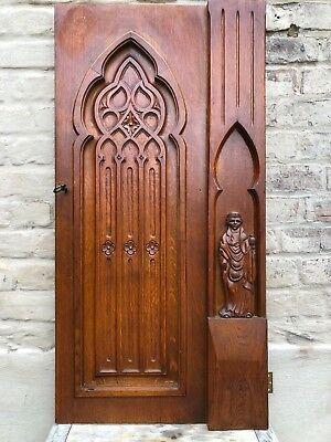 Stunning & impressive Gothic Door panel with Medieval lady in wood