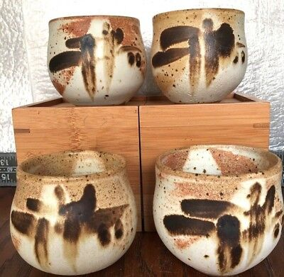 chawan 4 tea bowls Japanese stoneware hand thrown authentic ceremony signed set