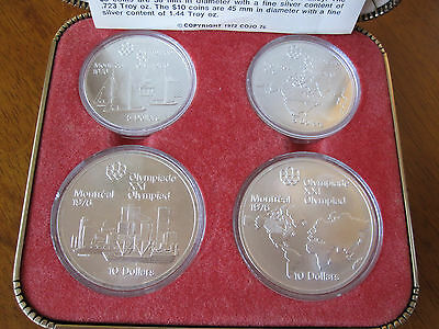 1973 Canada Mint Set Silver 4 Olympic Commemorative Olympic XXl Montreal 1976