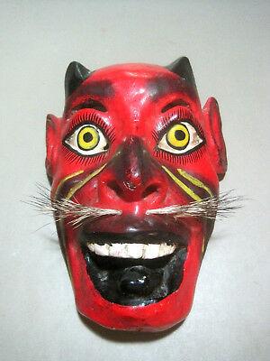 Vintage Folk Art Wooden Devil Mask Made in Indonesia