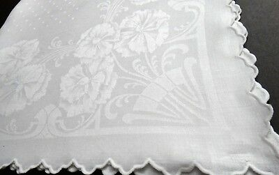 "Vintage Deco Floral Damask Linen Teacloth Table Topper 31.5"" Bold Flowers & Dots"