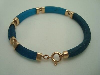 Ancient Roman Byzantine Blue Glass Fragments Links Mounted In 18K Gold Bracelet
