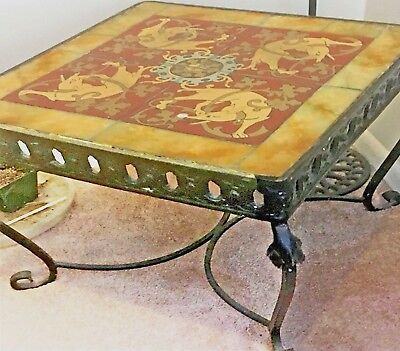 Tile & Wrought Iron Table Grey Hounds - Italy 1900-30