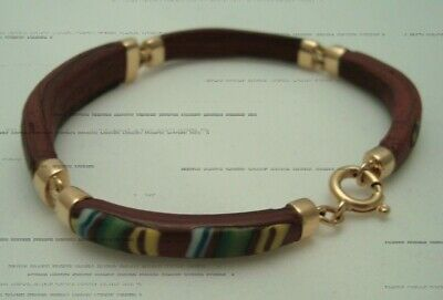 Ancient Roman Byzantine Brown Glass Fragments Links Mounted In 18K Gold Bracelet