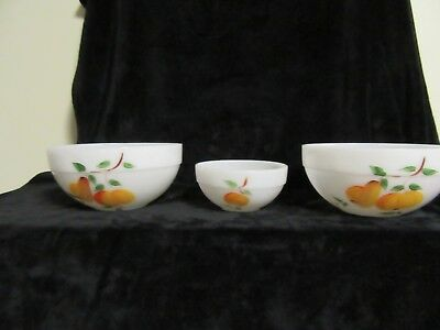 "VTG 3 White Milk Glass Fire King Mixing Bowls Fruit Decor 50's (2) 4 1/2"" & 1-3"""