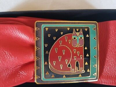 "Laurel Burch THE CAT Enamel Buckle and Red Leather Belt 33"" Adjustable NIB"