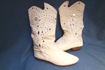 VTG punk 80s cutouts studs grommet flames white slouch boots gypsy boho cowboy