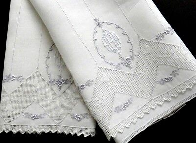 "Antique Appenzell Embroidery Linen Guest Towels, ""RRW"" Monogram Buratto & Floral"
