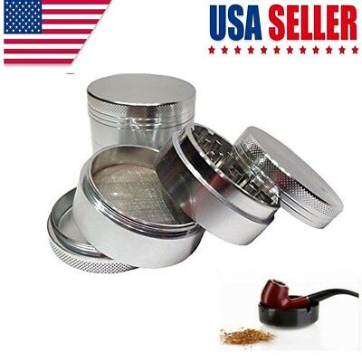4 Piece Herbal Alloy Smoke Chromium Crusher Tobacco Herb Spice Grinder