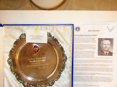 Usaf Major General W. Schoning 9.25 Silver Presentation Plate From Peru Prime. M