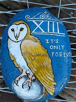 Labyrinth Jareth Owl Original Hand Painted Rock Stone Art By Suzanne Foster