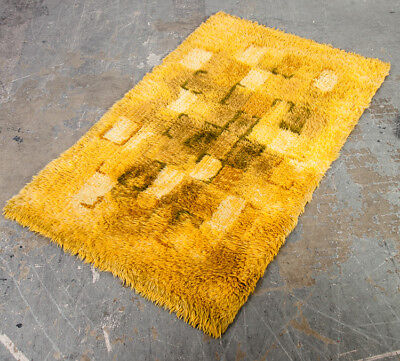 Mid Century Danish Modern Rug Carpet Rya Ege Yellow Wool Abstract Shag 3x5' VG+