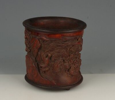 Chinese Exquisite Hand-carved Luohan carving bamboo Brush pot