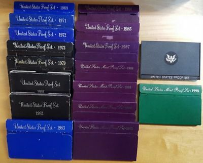 17 Different Usa Mint Proof Coin Sets In Boxes Years 1969 Through To 1998