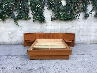 Mid Century Modern Danish Teak Queen Sized Platform Bed by Poul Hundevad