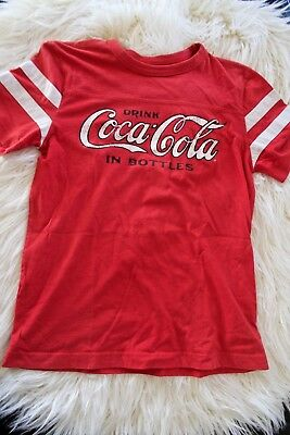 Coca Cola Vintage Logo Women's Red White Striped Short Sleeve Crew T Shirt Small