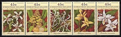Christmas Island 1994, Orchids MNH Strip of 5