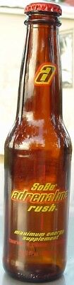 SoBe Adrenaline Rush ~ Brown Glass Bottle with Cap ~  6.5 Ounce ~ Max Energy