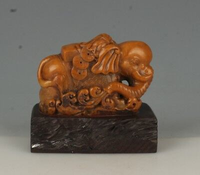 China Exquisite Hand-carved Elephant carving Shoushan Stone seal
