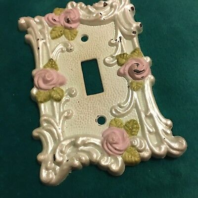 Shabby and chic vintage light switch plate Pearl rose pink green floral antique