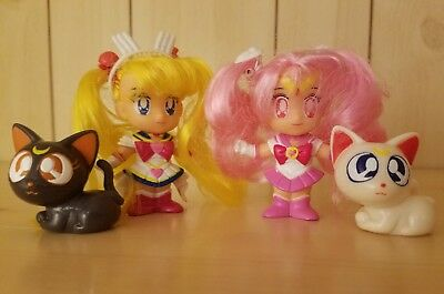 "90s Bandai ""Styling Sailor"" SuperS Moon Chibi Moon Gashapon Doll Figures Vintage"