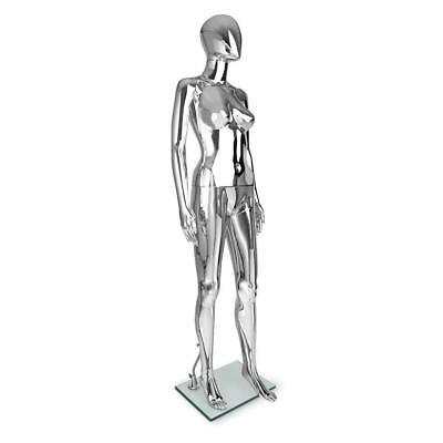 Chrome Silver Female Mannequin Full Body Clothes Display Showcase Commercial