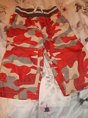 Boys Mini Boden Red Camoflauge Summer Shorts Size 6 Years