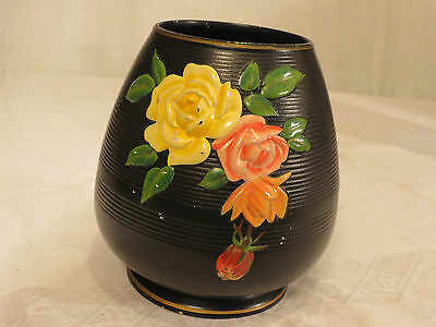 Vintage shabby chic 1940s/50s? Brentleigh Ware KENSINGTON Vase Black Yellow Red