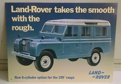 "Land Rover - take the Smooth w Rough 109""  OLD Vintage metal Sign copyright 2000"