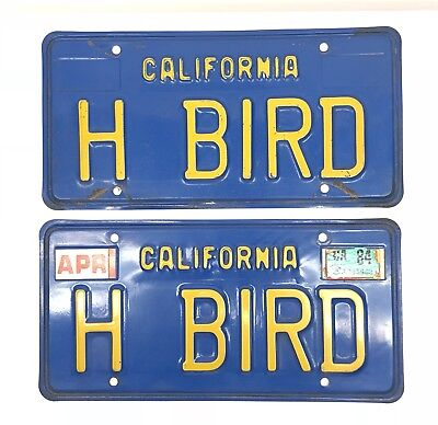 Pair Vintage H BIRD California Blue / Yellow Personalized Vanity License Plates