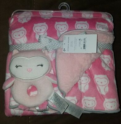 Just One You by Carter's Pink Owl Plush Baby Blanket with Rattle