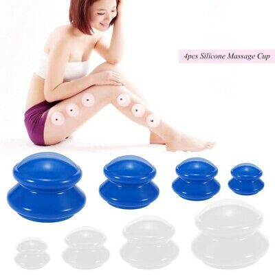 Anti Cellulite Cup Vacuum Cupping Silicone Family Facial Body Massage Therapy 4x