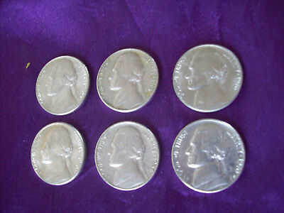 United States of America Jefferson Nickels x 6.  1960's & 1970's.
