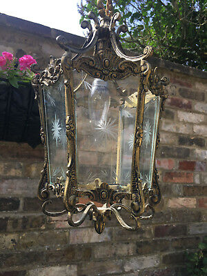 Large And Lovely French Antique Rococo Style Six Panel Lantern Starburst Glass