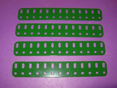 "Meccano Replica 6 1/2"" Flat Girders x 4, powdercoated medium green"