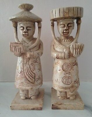 Pair Of Antique Stone Figures 19th Century Hand Carved Soapstone Southern Asian