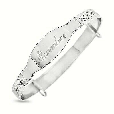 925 Silver Plated Baby Bracelet Personalised Christening Birthday Baptism Bangle