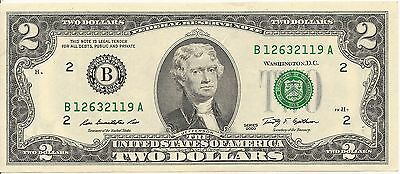 USA: 2 $ Serie 2009 B, Bank of NY (B 12632119 A) - Schein in sehr gutem Zustand!