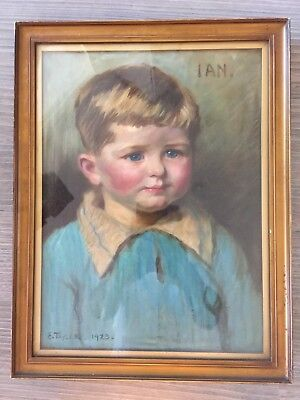 E.Taylor 1923 Oil On Board Portrait Of A Young Boy