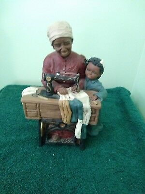 """God Is Love Figurine """"Bessie & Corkie"""" At Sewing Machine By M.Holcome-1991 #131"""