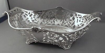 Sterling Silver Pierced Bowl With Scroll Handles - Chester 1902 - Nathan & Hayes