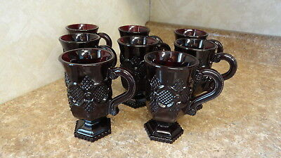 8 Avon Cape Cod Ruby Red Irish Coffee  Pedestal Mugs  With Handles