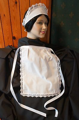APRON & SCARF HAT WHITE, LACE TRIMMED WAITRESS PINNY 67 inch waist band