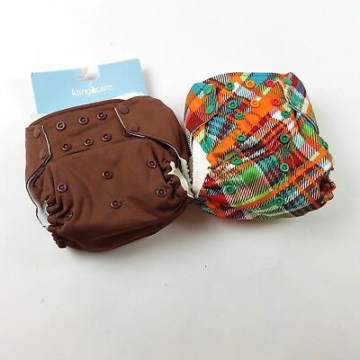 LOT of 2 Rumparooz one size pocket diapers with inserts....Brown/Plaid