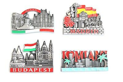 Unique Metal Fridge Magnet Souvenir Gift Worlds Cities Collectables Madrid Milan