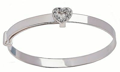 925 Silver Plated Expanding Baby Bangle Christening Birthday Baptism Bracelet CZ